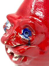 Load image into Gallery viewer, Kit Vanderwal Signed Ugly Face RARE Red Devil Jug Crock - Sea Grove, NC
