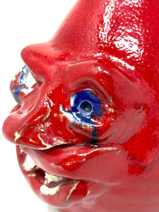 Kit Vanderwal Signed Ugly Face RARE Red Devil Jug Crock - Sea Grove, NC