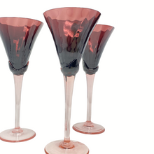 Load image into Gallery viewer, Set of 4 Retro Purple & Pink Art Glass Wine Glasses
