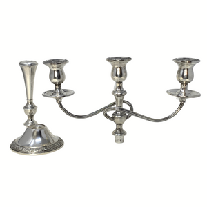 International Sterling Prelude 3-Light 3-Part Candelabra Candlestick N324