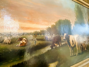 "Hugh Bolton Jones Original Oil on Canvas ""New York"" Cattle Large 50x30"