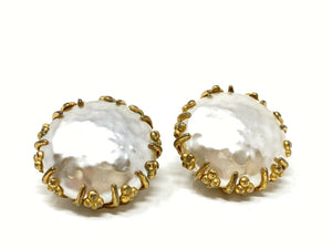 Vintage Miriam Haskell Large Pearl & Gilt Clip-On Earrings