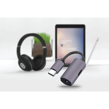 Load image into Gallery viewer, USB C to 3.5mm Audio Adapter with Charging Port