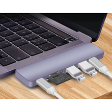 Load image into Gallery viewer, Dual USB C 7 Port Hub for MacBook Pro/Air