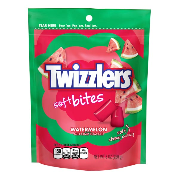 TWIZZLERS SOFT FILLED BITES WATERMELON POUCH 226 gr - Jerry America
