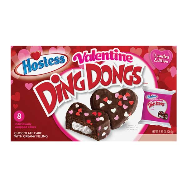 HOSTESS VALENTINES HEART SHAPED DING DONGS - Jerry America