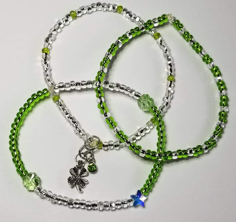 Transparent Green/Bling  *S.C.* Four leaf clover/Star