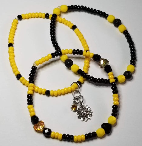 Yellow/Black/Lava beads  *S.C.* Heart