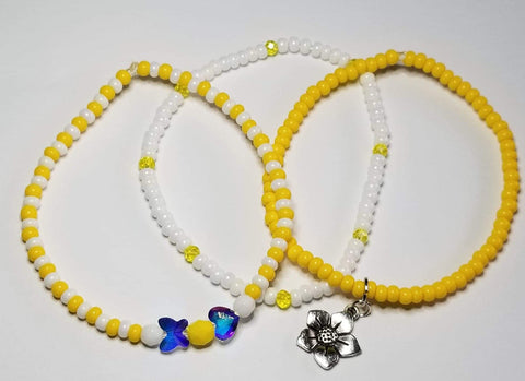 Yellow/White w flower charm