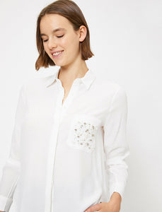 POCKET BEADS WHITE SHIRT