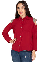 Load image into Gallery viewer, MAROON EMBROIDERY SHIRT