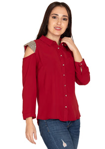 MAROON EMBROIDERY SHIRT