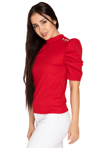 RED TOP WITH BUTTON