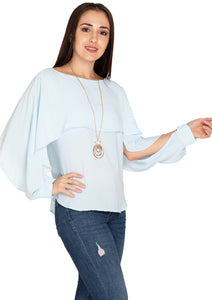 BLUE NECKLESS TOP