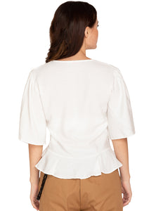 WHITE FRILL CUT TOP