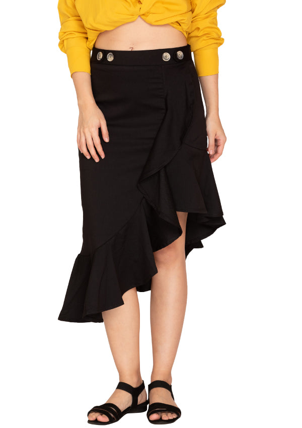BLACK FRILL SKIRT