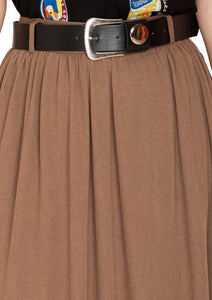 DUSTY BROWN SKIRT WITH BELT