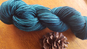 Teal,  Hand dyed yarn, Fingering weight, sock weight, sport weight, DK weight, Worsted weight, Bulky