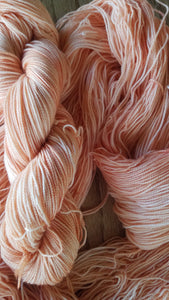 Peaches,  Hand dyed yarn, Fingering weight, sock weight, sport weight, DK weight, Worsted weight, Bulky