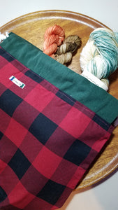 Buffalo plaid project bag with sock set