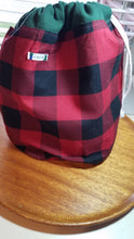 Load image into Gallery viewer, Buffalo plaid project bag with sock set