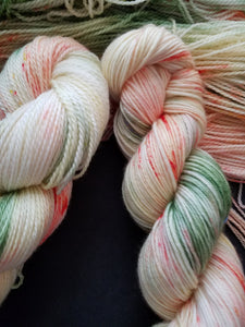 Summer Garden, Hand dyed yarn, Fingering weight, sock weight, sport weight, DK weight