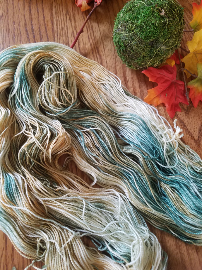 Light Teal variegated,  Hand dyed yarn,  DK weight