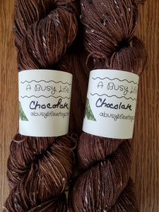 Chocolate, now on TWEED, 85/15 Superwash Merino/NEP hand dyed  fingering weight, sock yarn
