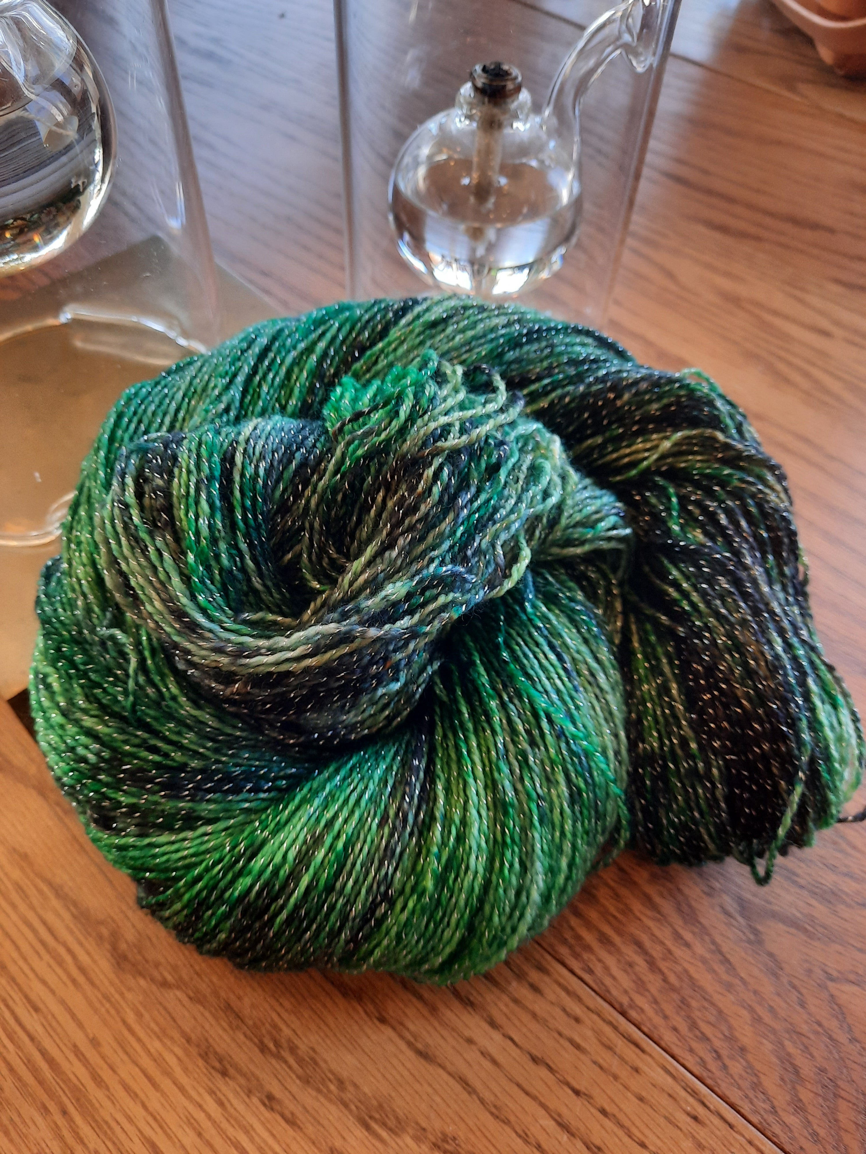 Emerald City, shimmer fingering weight yarn
