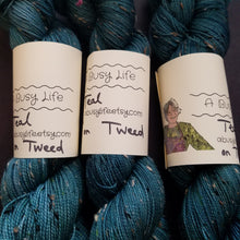 Load image into Gallery viewer, Teal, now on TWEED, 85/15 Superwash Merino/NEP hand dyed  fingering weight, sock yarn