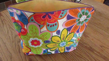 Load image into Gallery viewer, Large Project bag  bright colored floral, project bags, storage bag, travel bag, make up bag
