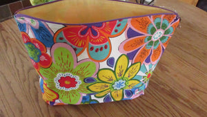 Large Project bag  bright colored floral, project bags, storage bag, travel bag, make up bag
