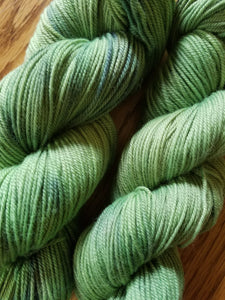 Hand dyed yarn, Spring Forest, 80/20 Non-Superwash Merino Nylon, Sport weight