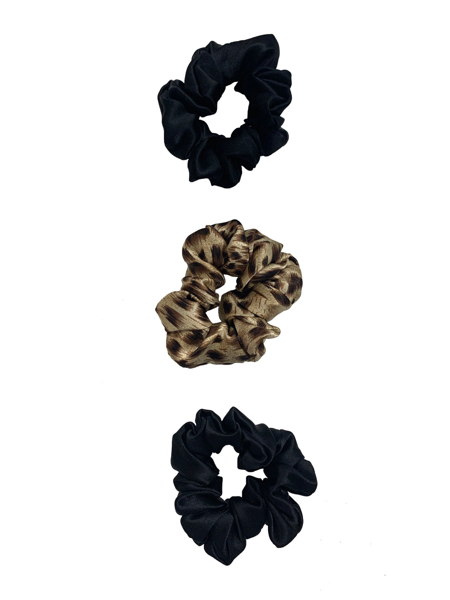 Cheetah Silk Scrunchie Set