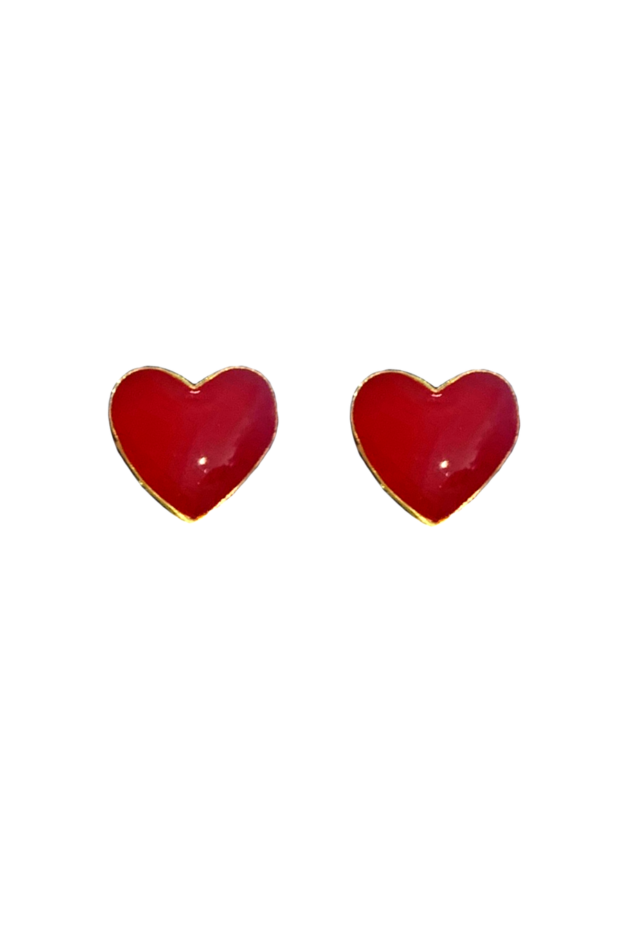 Enamel Heart Earrings - Red