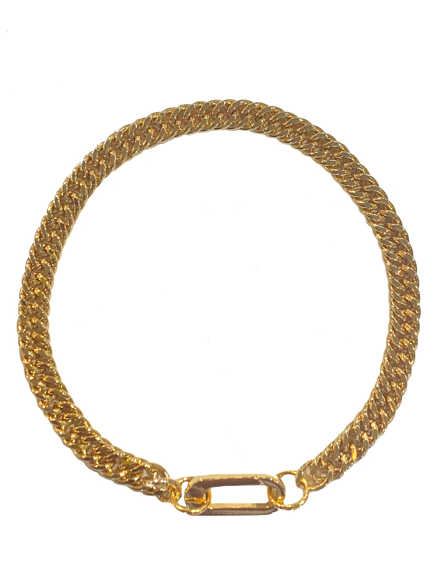 Double Helix Carabiner Anklet - Gold