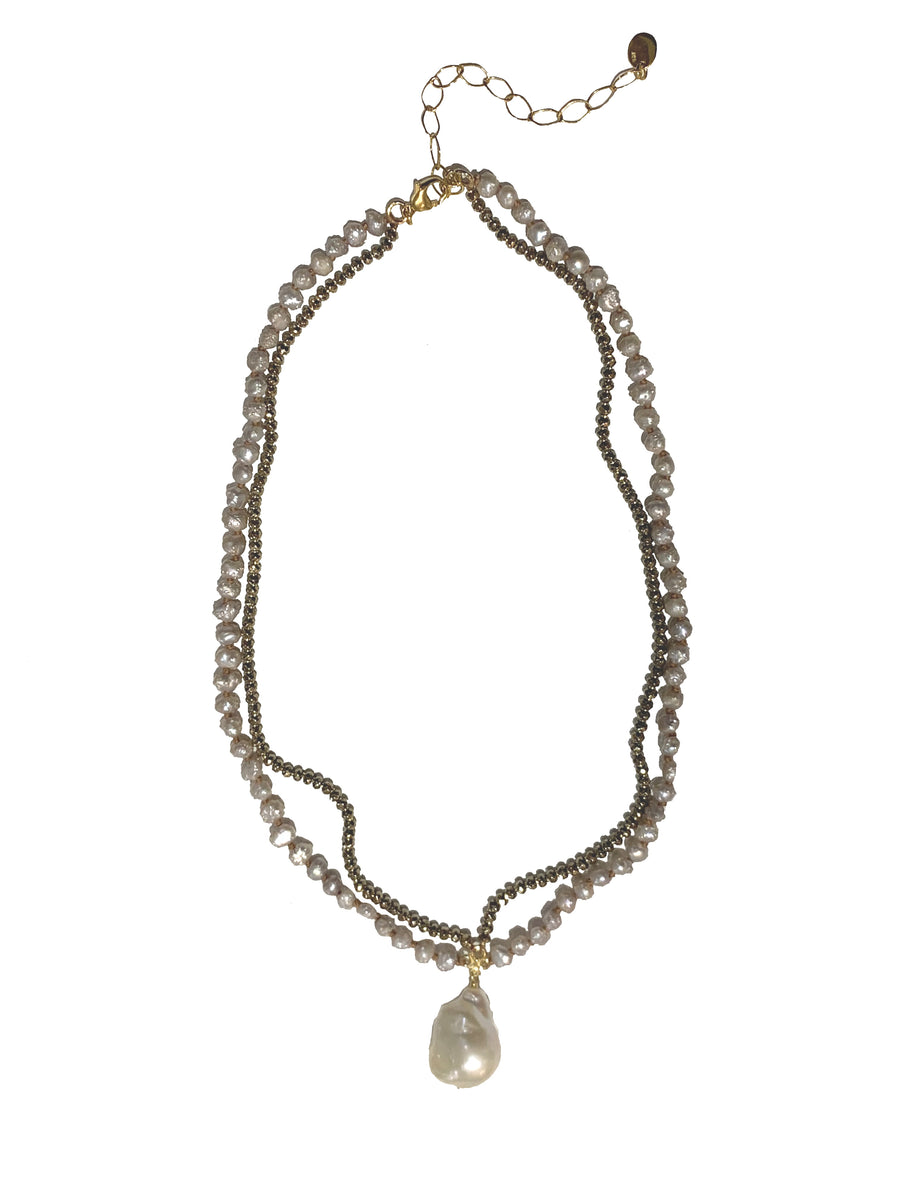 Pyrite and Pearl Pendant Necklace