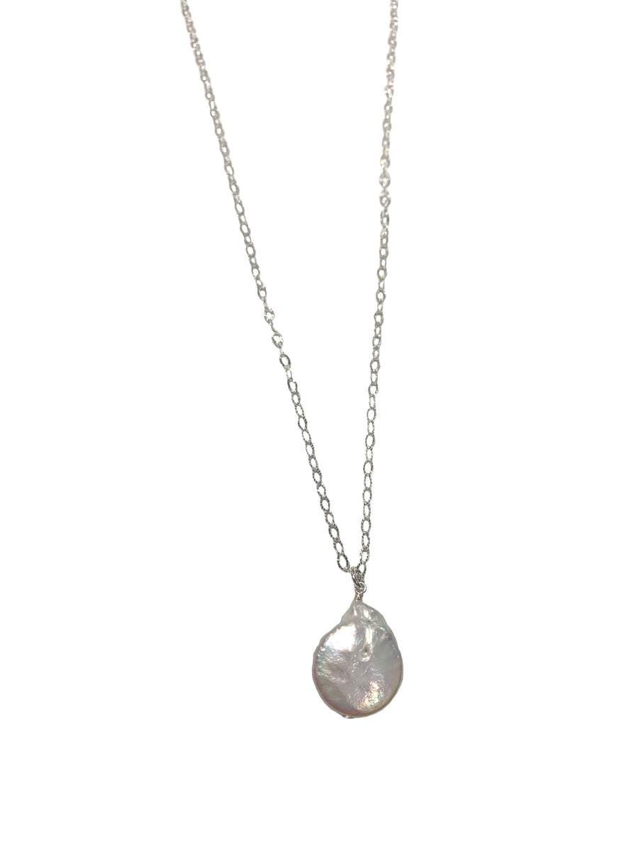Long Pearl Disc Pendant Necklace