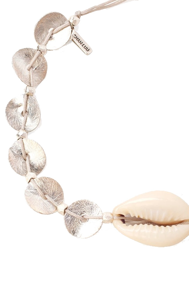Discs and Cowry Shell Pull-Tie Bracelet
