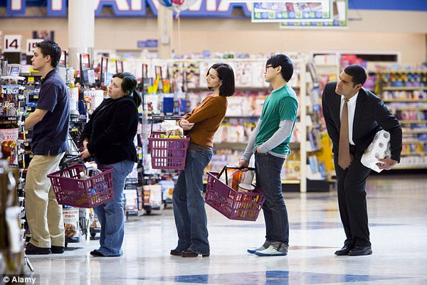 Waiting in line at the checkout