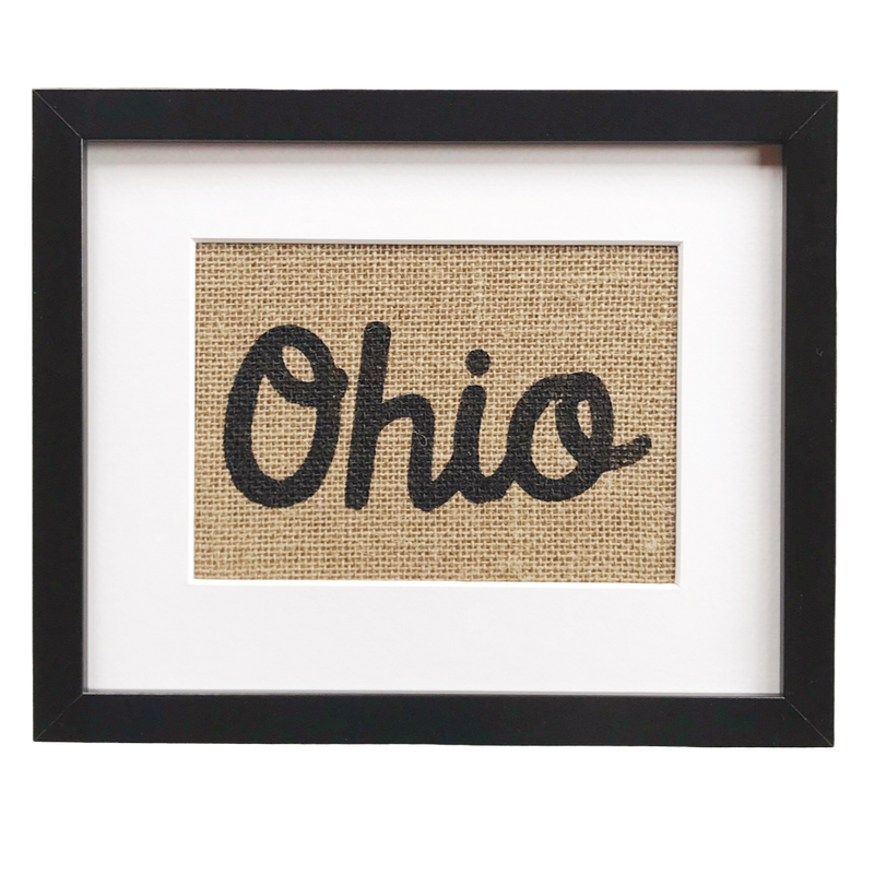 Ohio - Framed Burlap Print