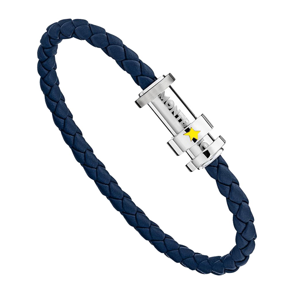 Bracelet in woven blue leather and steel