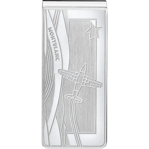 Money clip in stainless steel with airplane engraving