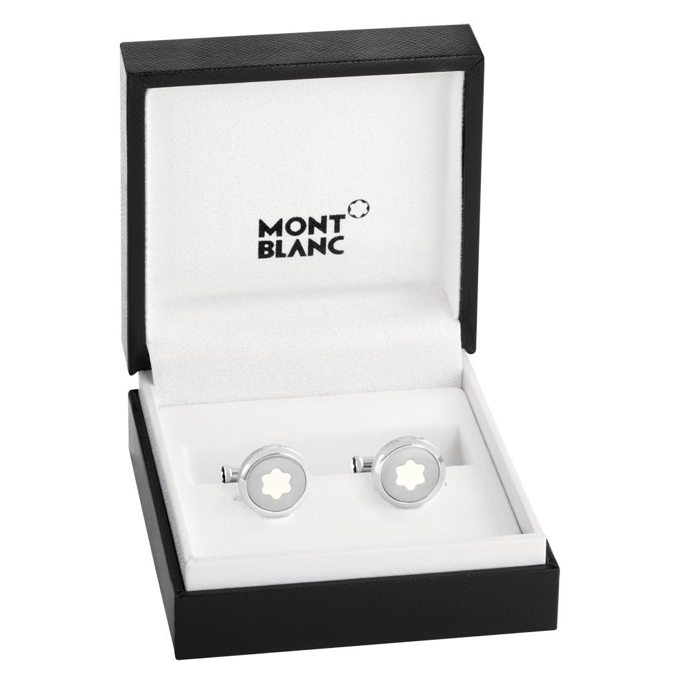 Starwalker Cufflinks, round in stainless steel with illuminating Montblanc emblem