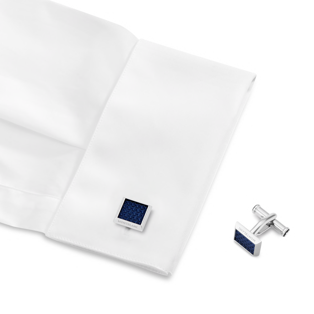 Cufflinks, rectangular in stainless steel with blue patterned inlay