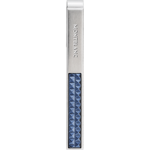 Tie bar in stainless steel with blue patterned inlay