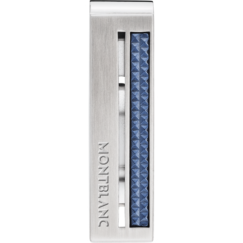 Money clip in stainless steel with blue patterned inlay