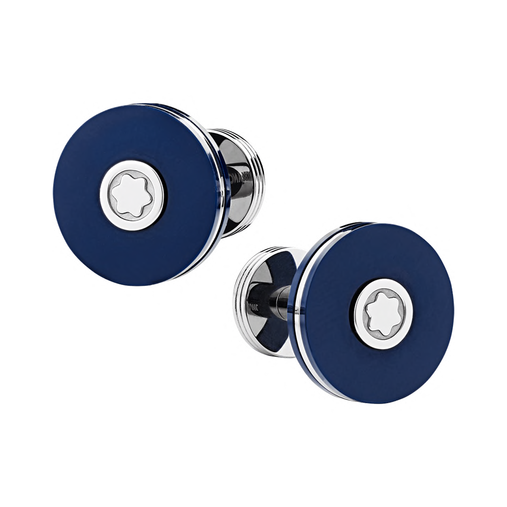 Cufflinks, round in stainless steel with blue resin