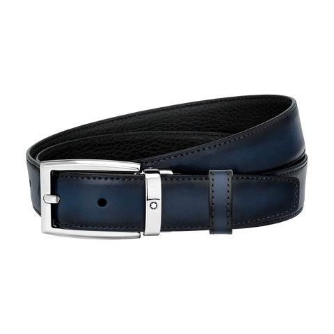 Black/blue reversible cut-to-size business belt