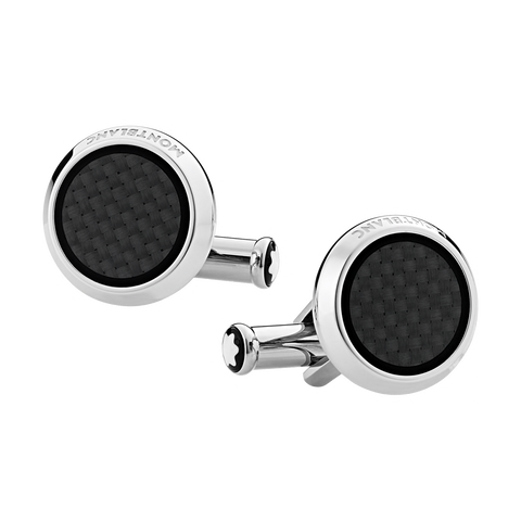 Cufflinks, round in stainless steel with carbon-patterned inlay